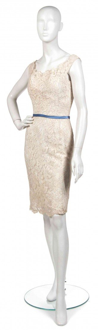 5: A Ceil Chapman Cream Lace Cocktail Dress,