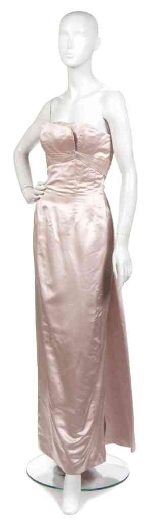 6: A Ceil Chapman Pink Satin Strapless Evening Gown,