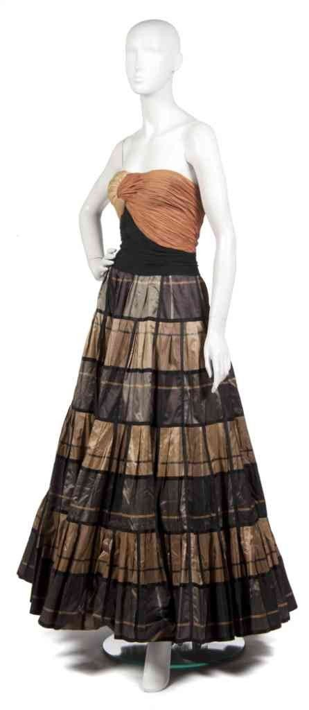 9: A Carven Bronze, Brown and Black Evening Gown,