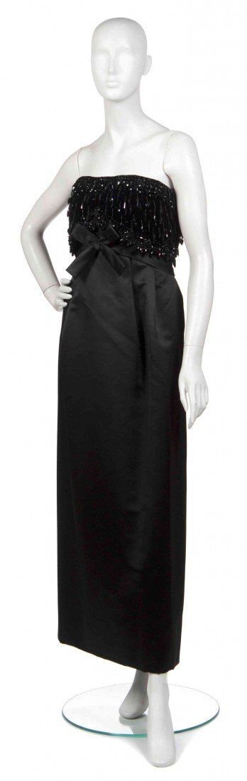10: A Bob Bugnand Black Velvet and Satin Evening Gown,