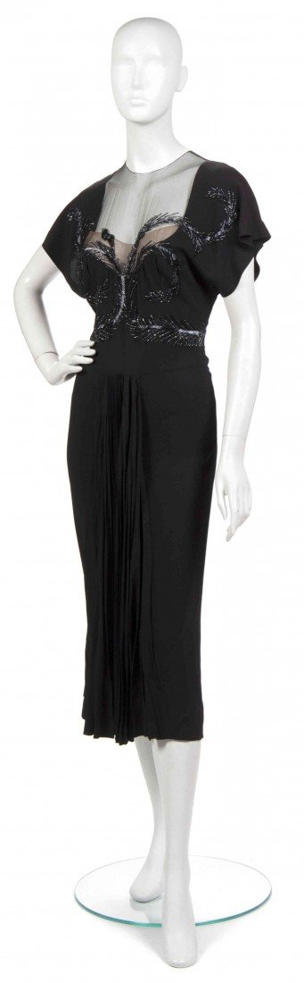 12: An Adrian Black Silk Evening Dress,