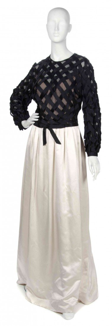 17: A Sarmi Black and Cream Silk Evening Gown,