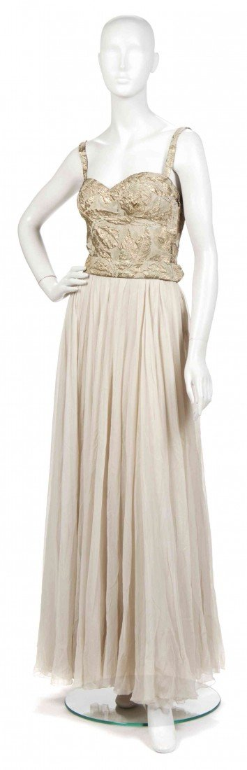 20: A Mainbocher Gold Brocade and Cream Silk Chiffon Ev