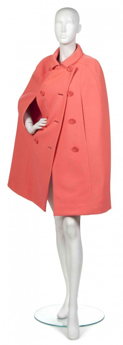 22: A Norman Norell Pink Wool Cape.