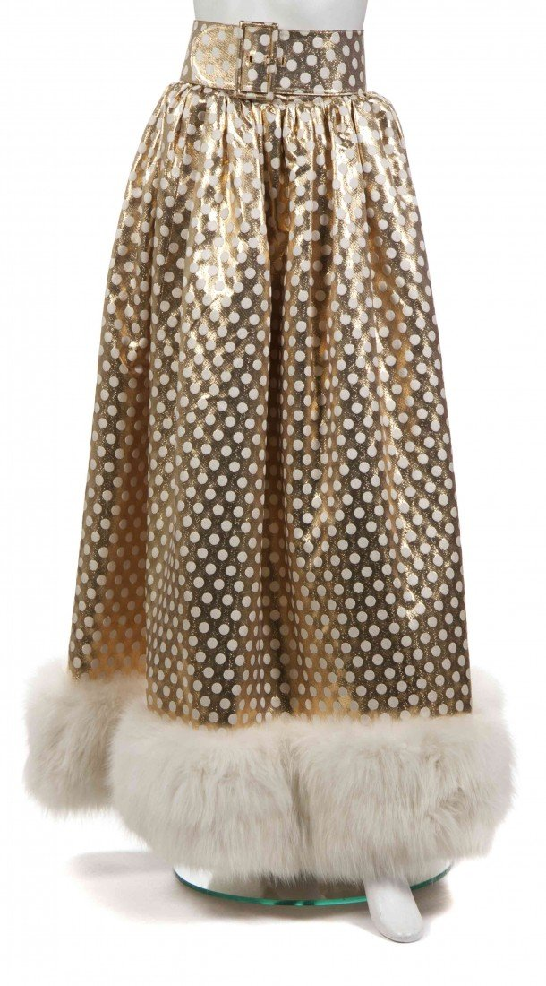 23: A Norman Norell Gold and Cream Fur Trimmed Skirt,