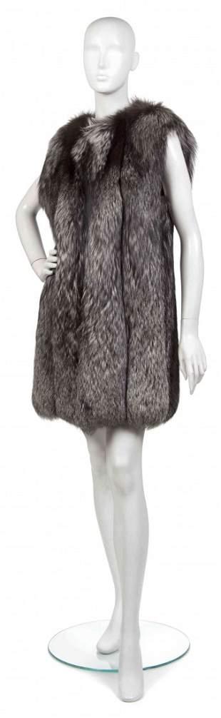 362: A Silver Fox Fur Vest.