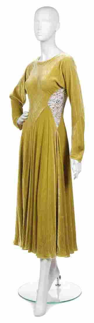363: A Joan Vass Lime Green Velvet Dress,