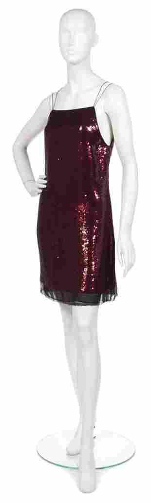 366: A Joan Vass Red Sequin Sheath,