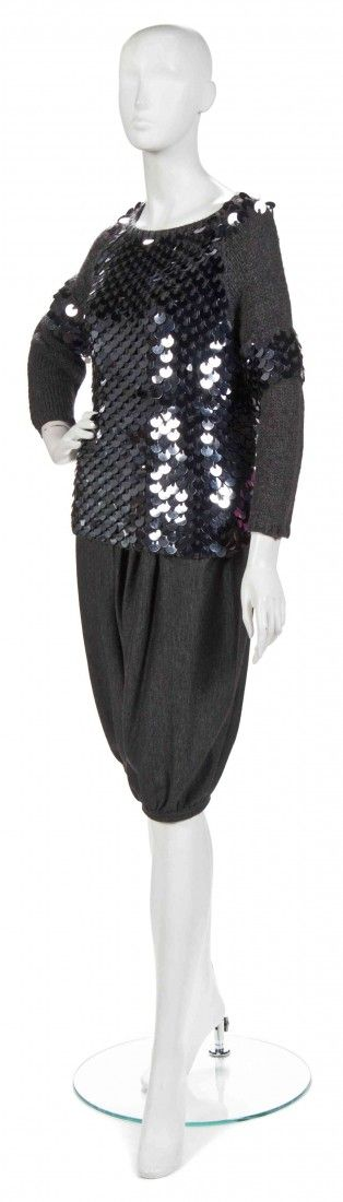 A Joan Vass Grey Knit 'Referee' Sweater with Paill