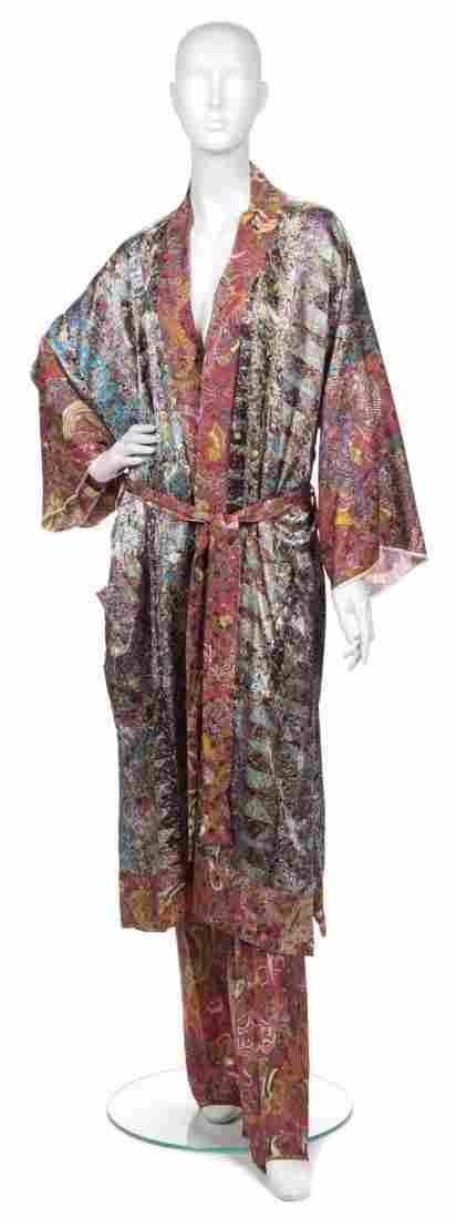 A Joan Vass Multicolor Silk Kimono Robe,