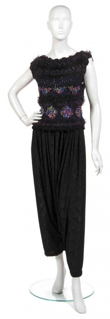 376: A Joan Vass Sleeveless Black Sweater,