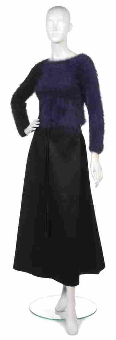 377: A Joan Vass Black and Purple Angora Wool Cropped S