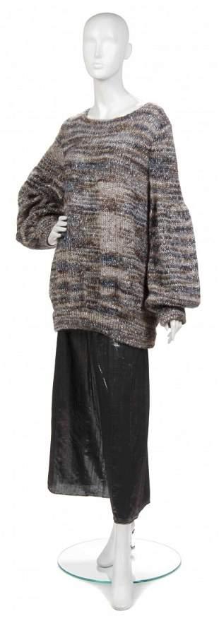 378: A Joan Vass Tweed Lantern Sleeve Sweater,