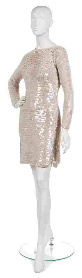 379: A Joan Vass Beige Iridescent Paillette Sweater Dre