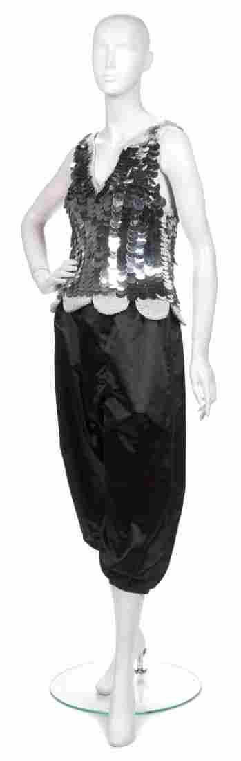 A Joan Vass Silver Paillette Sweater Tank,