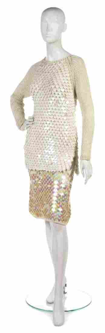 382: A Joan Vass Cream Knit Paillette Top,