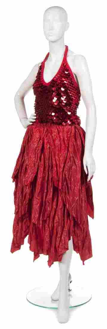 384: A Joan Vass Red Taffeta Skirt,