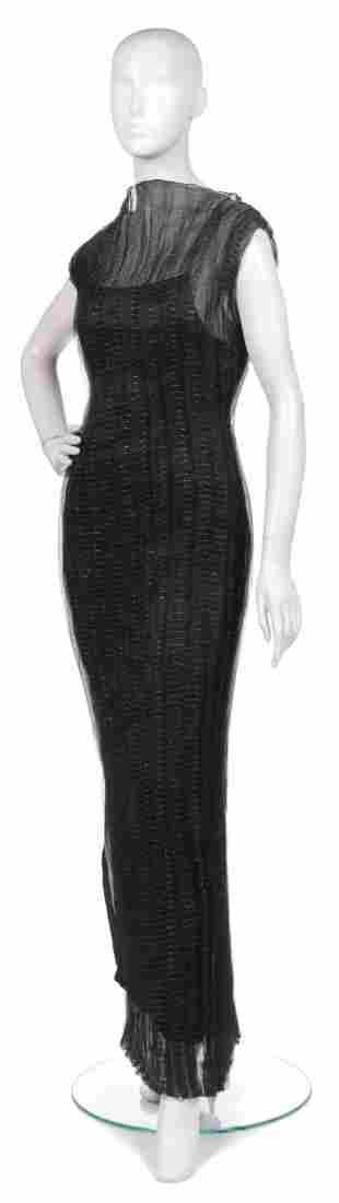 386: A Joan Vass Black Silk Chiffon Dress,