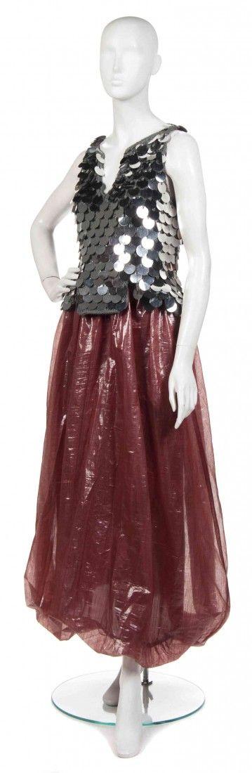 387: A Joan Vass Red Cellophane Skirt,