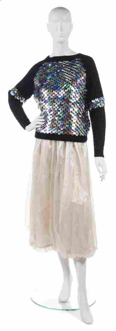 A Joan Vass Cream Cellophane Bloomer Pant,