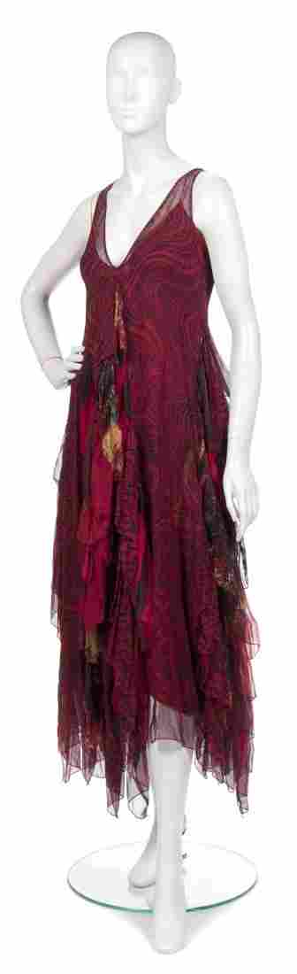 391: A Joan Vass Red Silk Chiffon Tiered Dress,