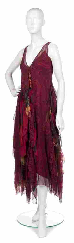 391: A Joan Vass Red Silk Chiffon Tiered Dress,