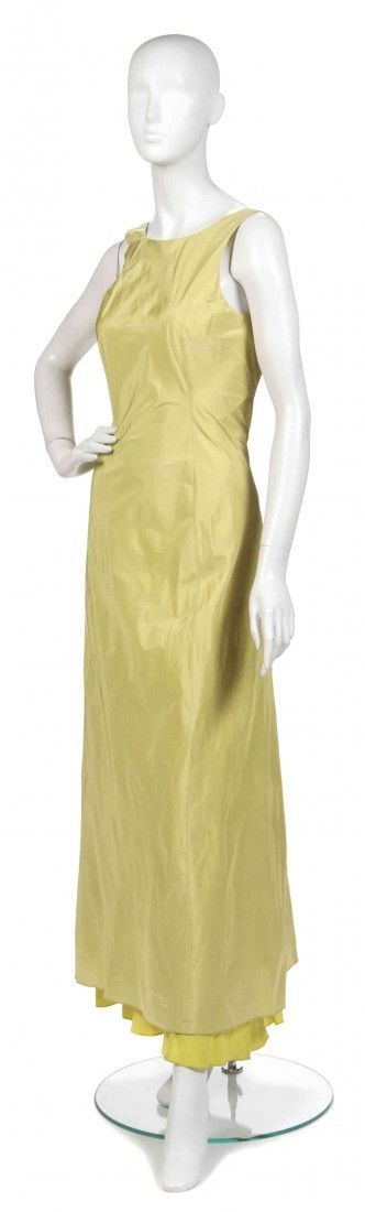 392: A Joan Vass Chartreuse Silk Evening Gown,