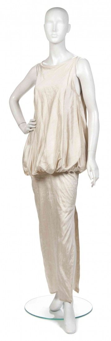 394: A Joan Vass Cream Silk Shantung Evening Gown,