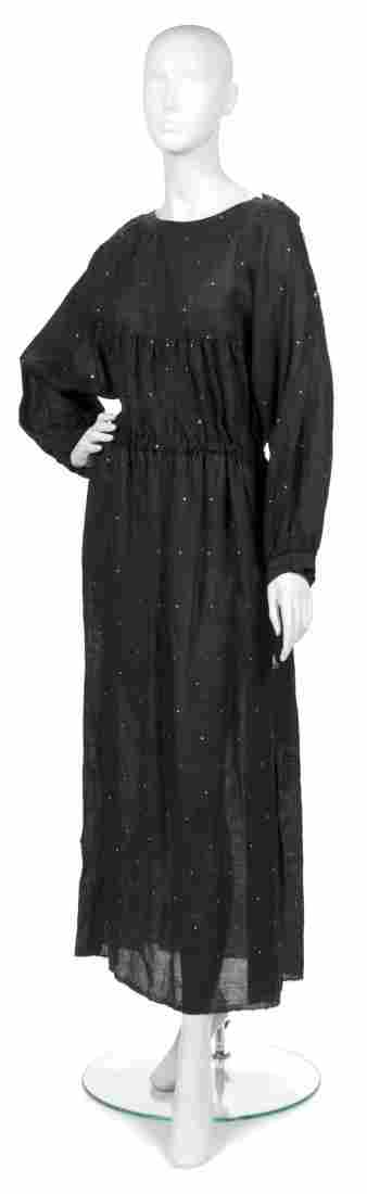 A Joan Vass Black Linen Peasant Dress,