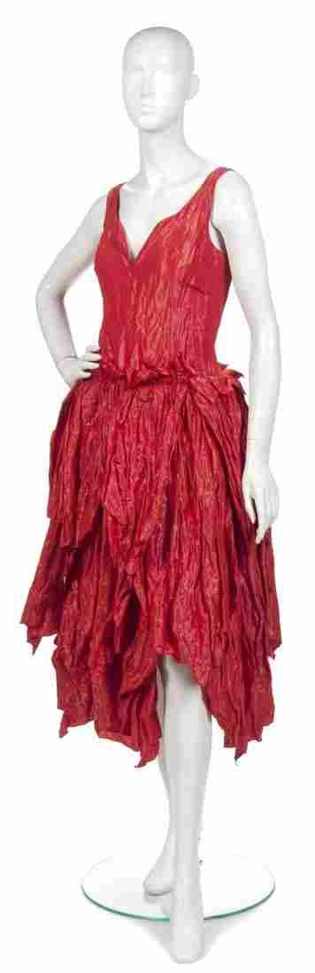 400: A Joan Vass Red Taffeta Cocktail Dress,