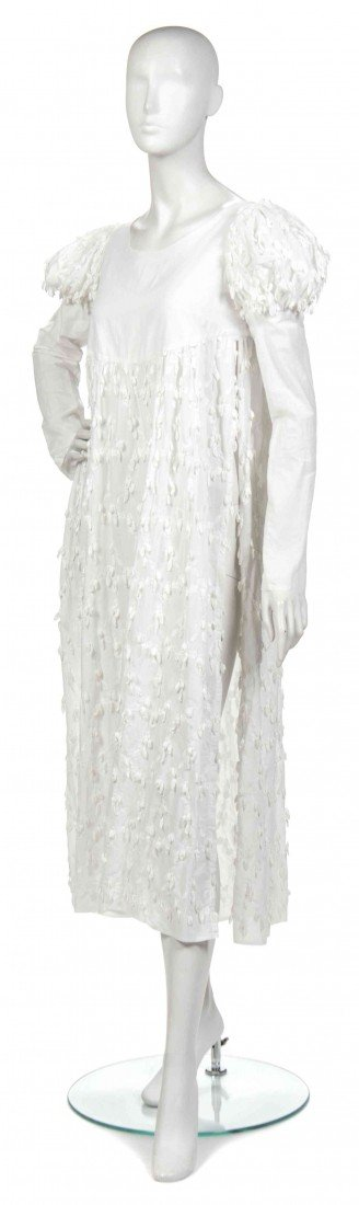 404: A Joan Vass White Linen Floral Applique Dress,