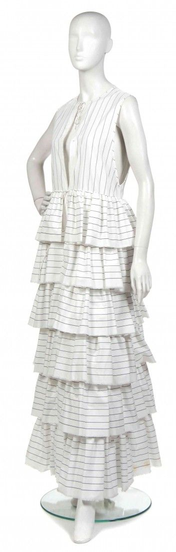 A Joan Vass Navy and White Cotton Striped Dress Ja