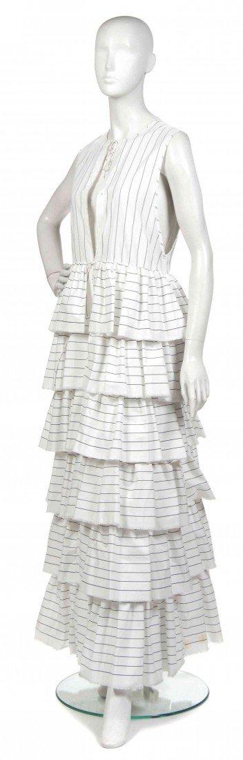 405: A Joan Vass Navy and White Cotton Striped Dress Ja
