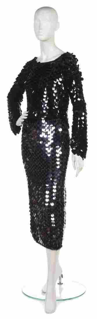 A Joan Vass Black Paillette Knit Top,