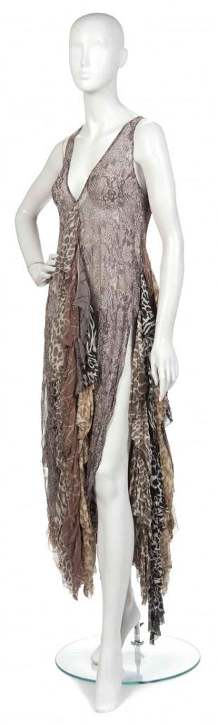 414: A Joan Vass Multicolored Silk Chiffon Dress,
