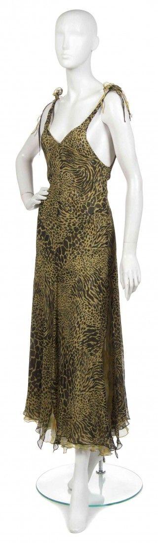 415: A Joan Vass Chartreuse Silk Chiffon Dress,
