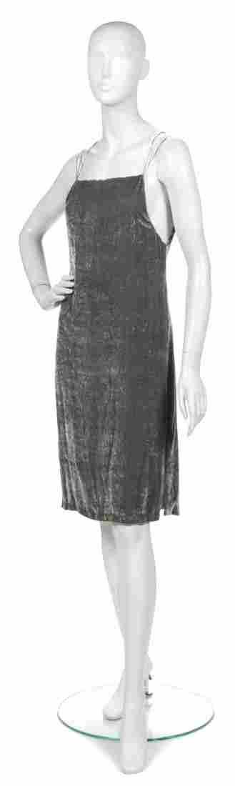 417: A Joan Vass Grey Velvet Sheath Dress,