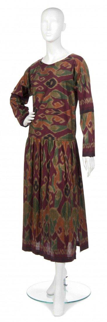 421: A Joan Vass Burgundy Cotton Ikat Dress,
