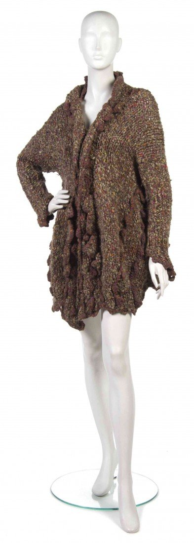 423: A Joan Vass Brown Mulitcolored Knit Sweater,