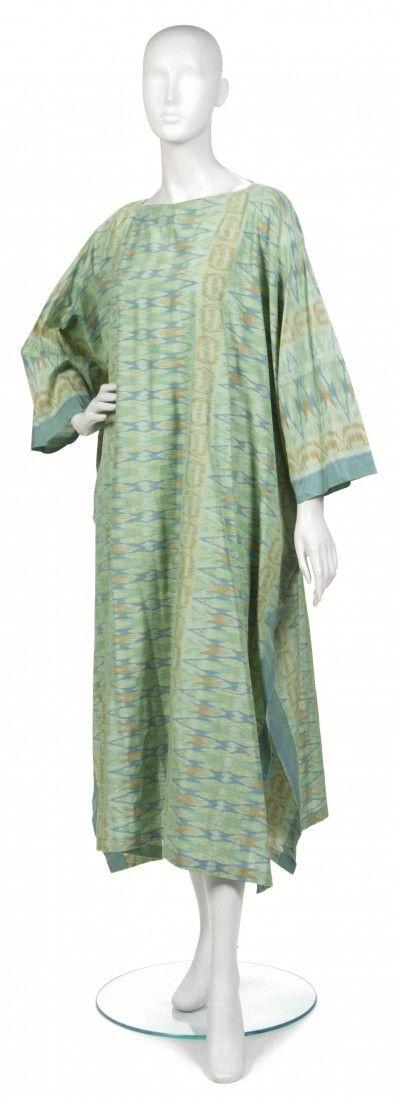 A Joan Vass Green and Blue Cotton Ikat Kaftan.