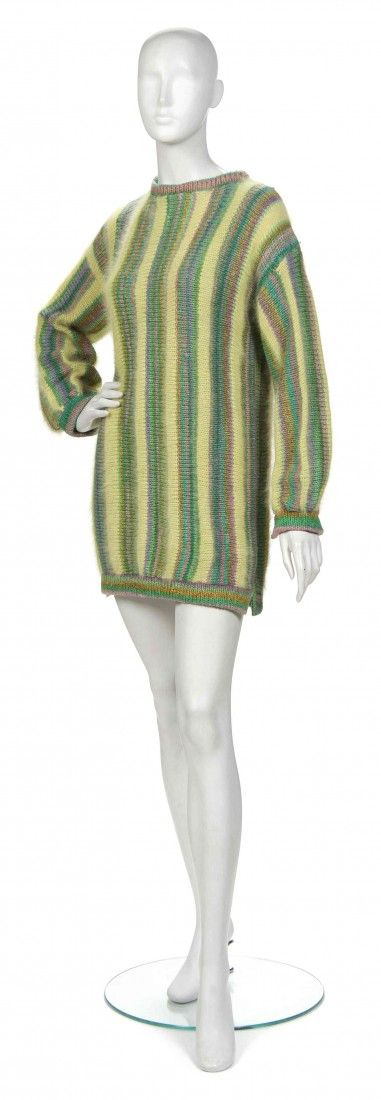 435: A Joan Vass Green Angora Wool Sweater,
