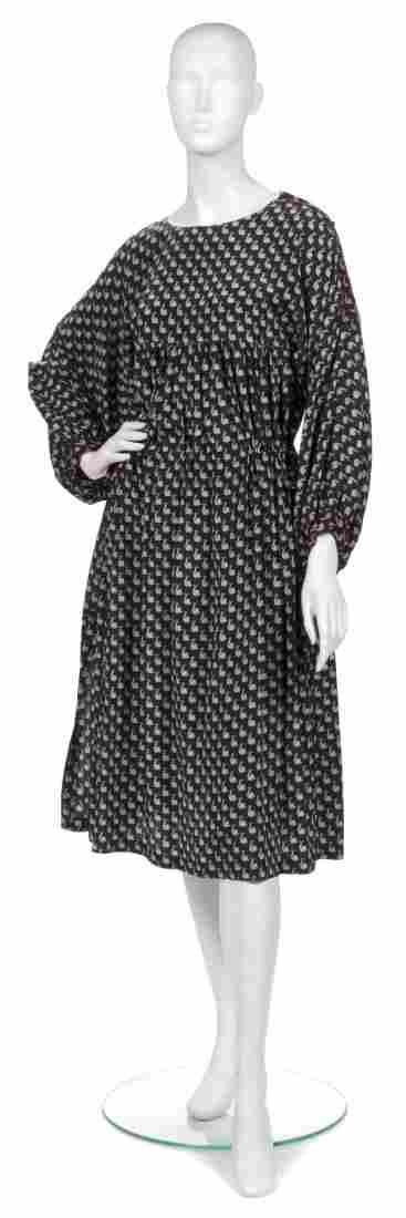 A Joan Vass Black Silk Peasant Dress,