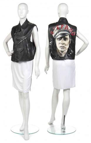 461: A Stephen Sprouse Black Leather Motorcycle Vest,