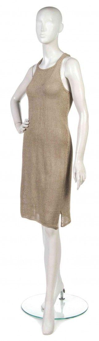491: A Joan Vass Tan Knit Racerback Dress.
