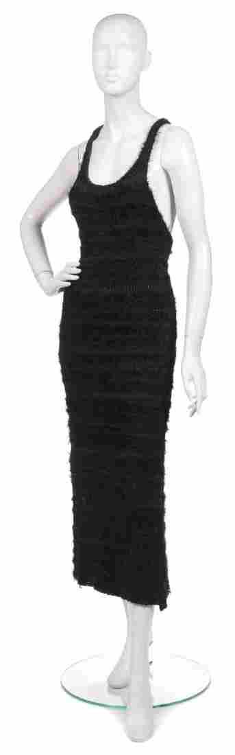 492: A Joan Vass Black Knit Racerback Maxi Dress.