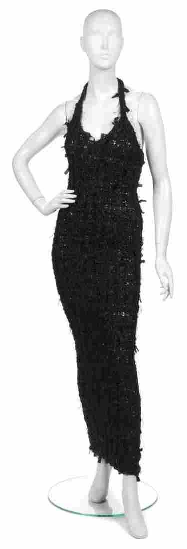 493: A Joan Vass Black Ribbon Knit Racerback Maxi Dress