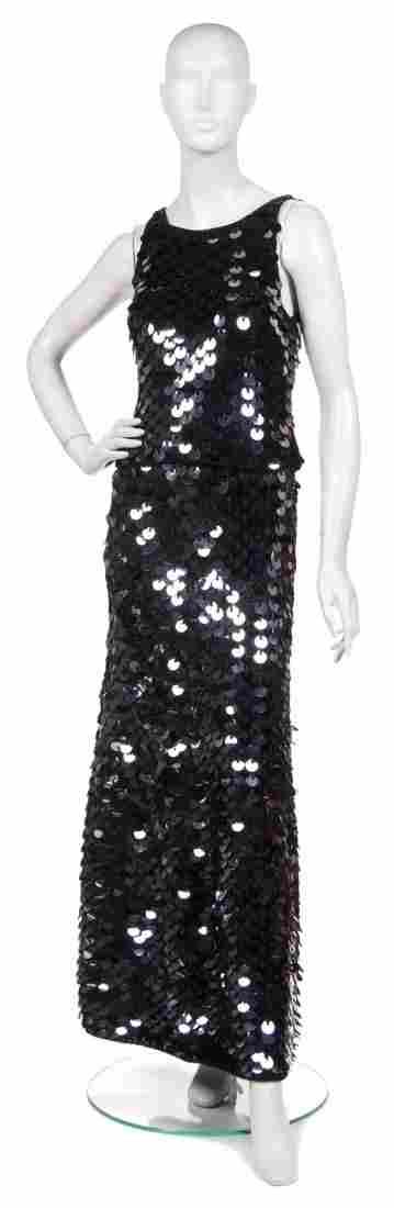 A Joan Vass Black Knit and Paillettes Ensemble,