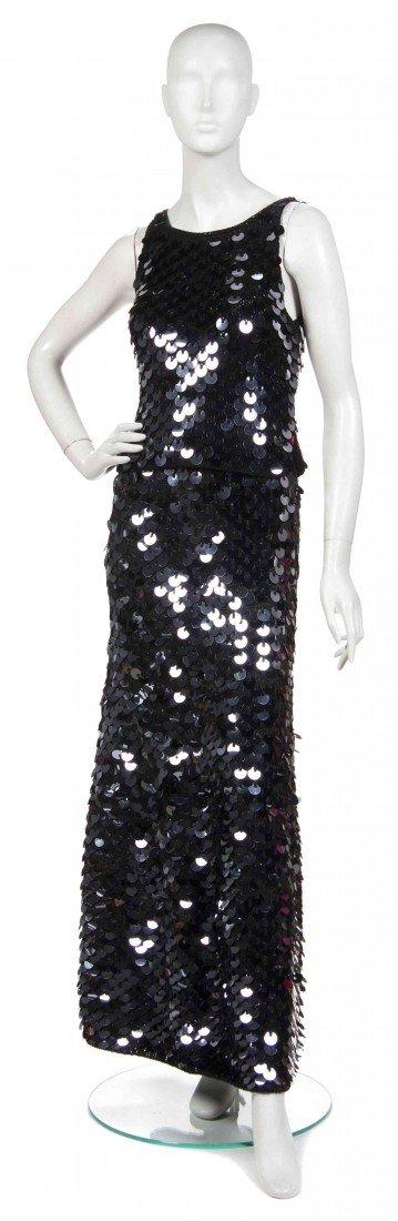 498: A Joan Vass Black Knit and Paillettes Ensemble,