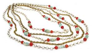 659 A Miriam Haskell Faux Pearl Aqua and Coral Five S