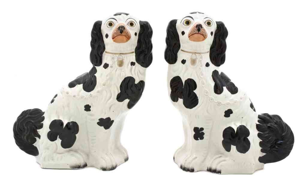 5: A Pair of Staffordshire Dogs, Height 12 1/2 inches.